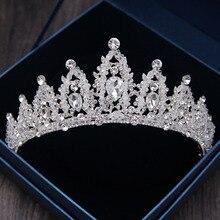 2018 Baroque Handmade Rhinestone Bridal Crown Tiaras Silver Crystal Diadem Tiaras for Bride Headbands Wedding Hair Accessories