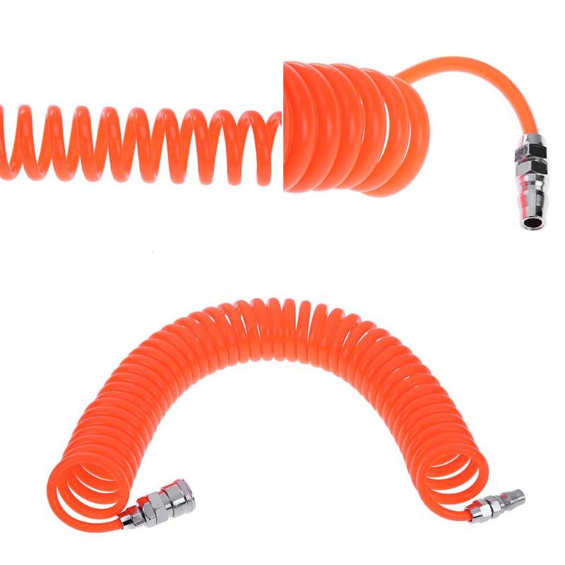 6M/9M PU Air Compressor Hose Tube Flexible Air Tool With Connector PP20 Spring Spiral Pipe Air Compressor Pneumatic Connector orange 9m length pneumatic components pu8 12mm spring trachea and quick connector pneumatic plastic coil tube pipe hose