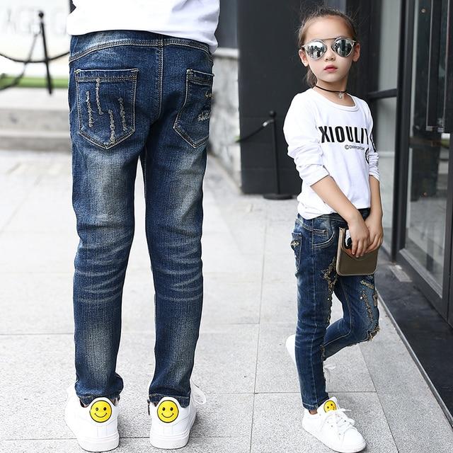 2016 новый детская одежда девушки большой девственный осень прилив личности Тонкий эластичный пояс джинсы женские звезд Алмазный Дети