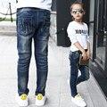 2016 novas crianças de roupas meninas grandes virgens personalidade maré outono Magro calça jeans cintura elástica fêmea estrelas de Diamante Crianças