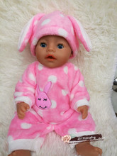 Free shipping Rabbit pajamas doll clothes doll accessories for 43cm Baby Born zapf American Girl Children