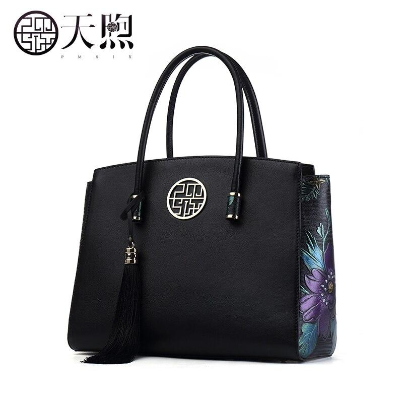 Véritable sac à main en cuir pmsix 2017 nouveau vent national art de mode en cuir sacs à main rétro en relief sac à main d'épaule sacs