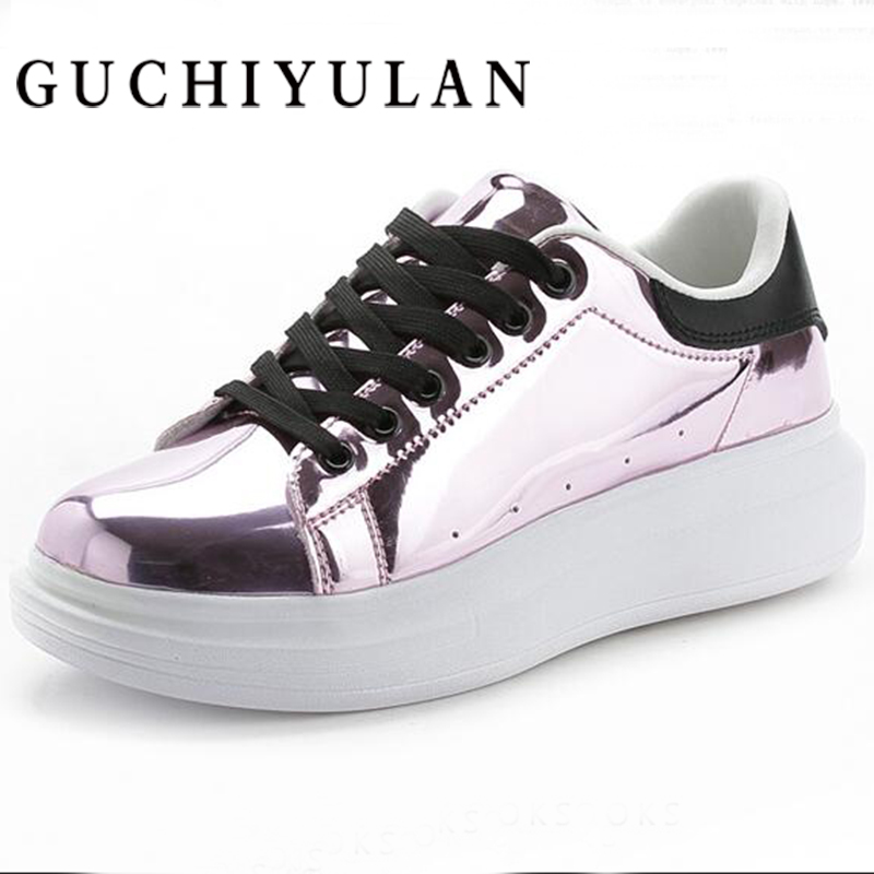 Increased within Platform Sneakers Women Fashion Golden Sequin Waterproof Women Flats Spring Autumn Lace Up Casual Shoes Women
