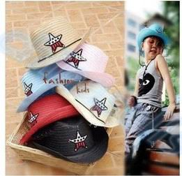 50pcs Child Travel Summer Star Hat Suv Sun Cap West Cowboy Baby Kid Fishing Beach Visor Hat Outdoor Sport Large Brimmed Strawhat