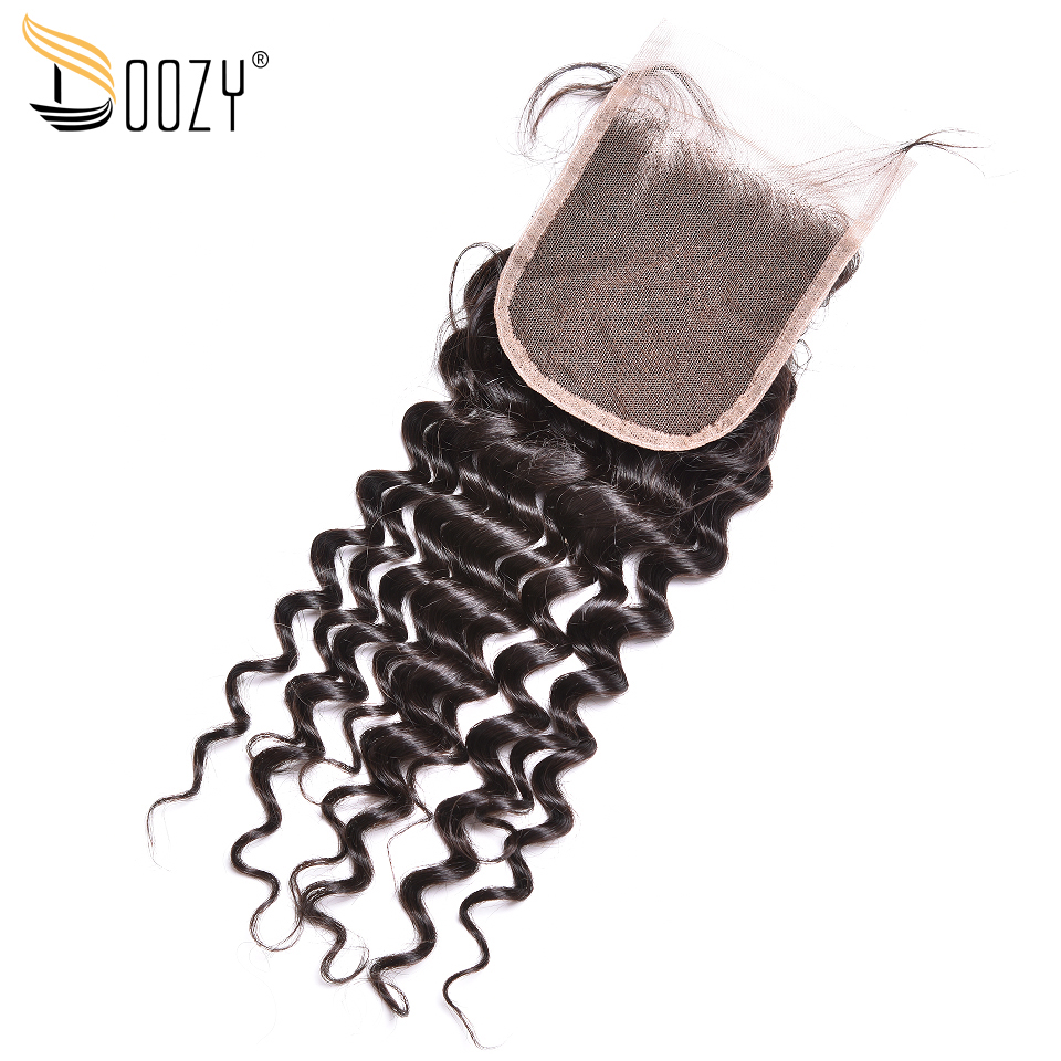 Doozy Deep Wave Brazilian Hair Bleached Knots Remy Human Hair Lace Closure
