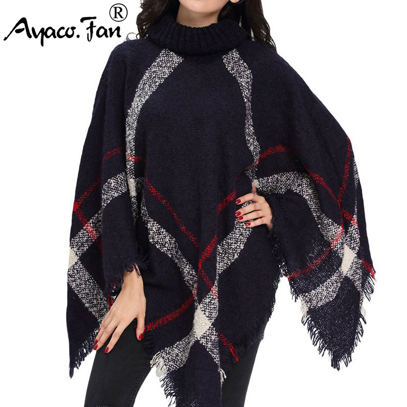 Winter Sweater Women Knitted Poncho Turtleneck Ladies Scarf Thick Warm Sweaters And Pullovers Plus Size Poncho And Capes