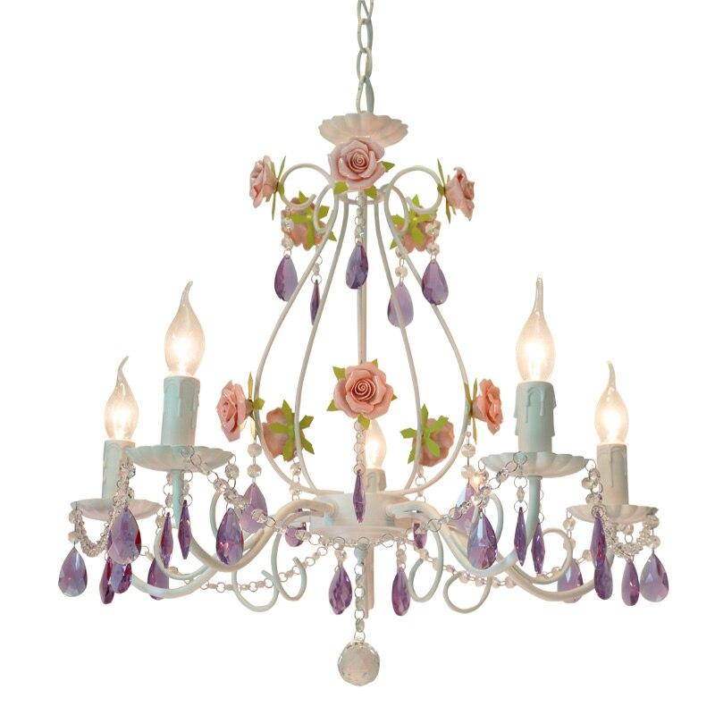 Lustre en cristal pour chambre d'enfants Ligthing lampe de chambre de mariage coréenne lustres rose chambre de princesse fille chambre lumières décorer