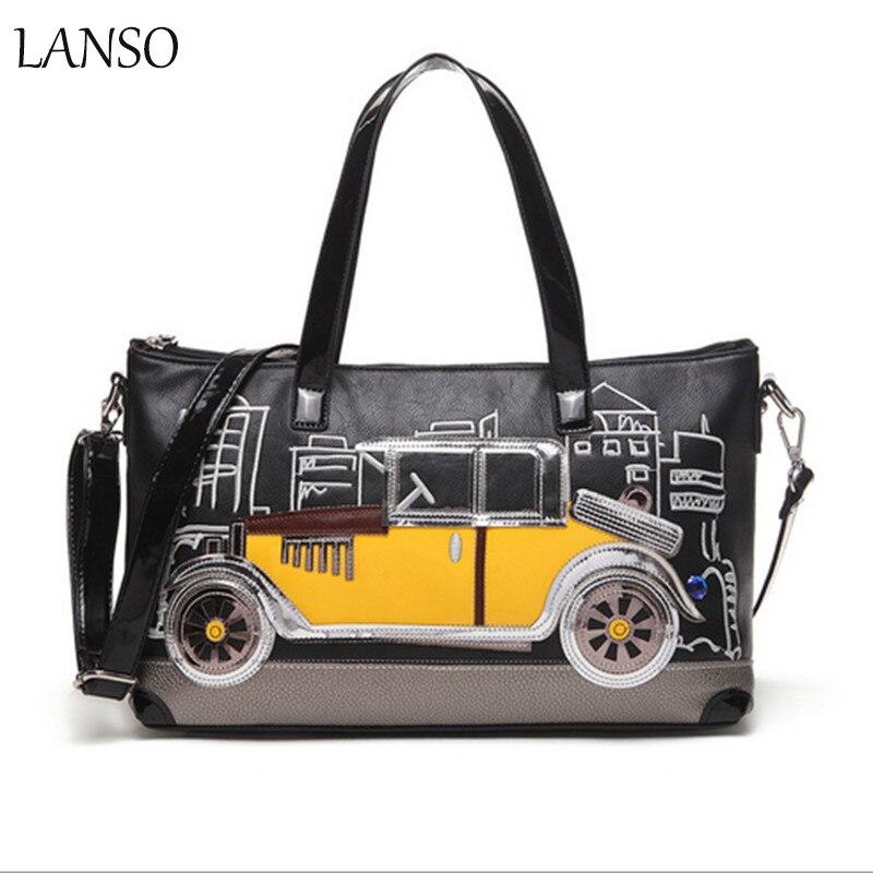 ФОТО Fashion Zipper Embroidered Boston Bag Soft Leather Handbags Big Women Bag Zipper Ladies Shoulder Bag Girl Boston Bags