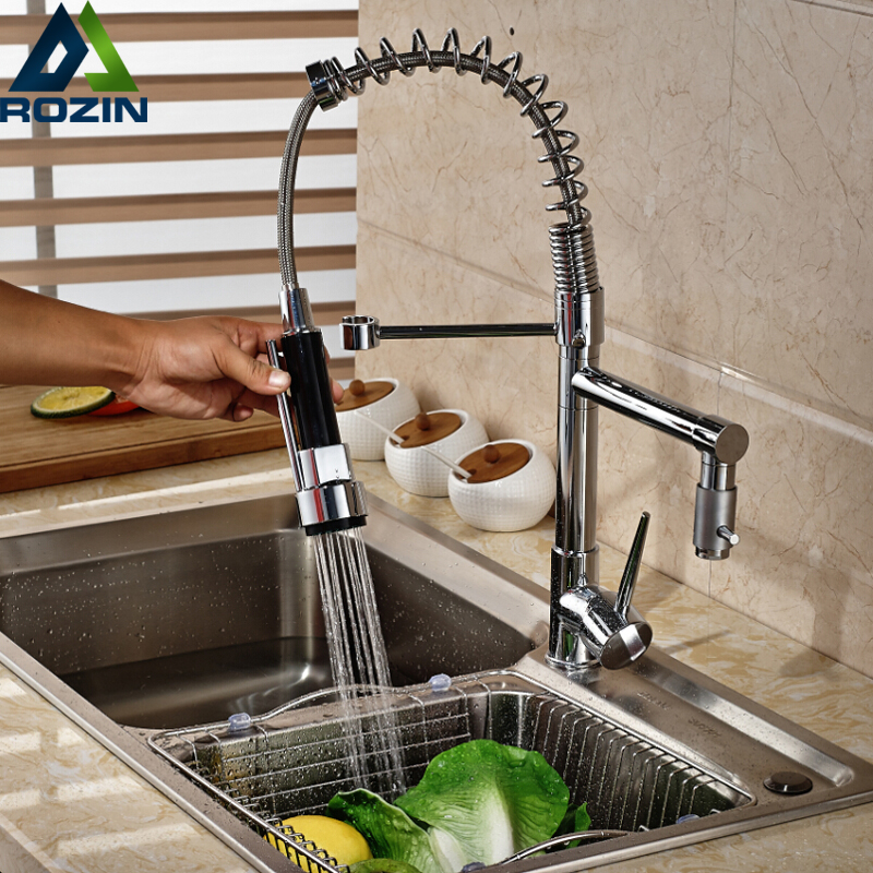 Deck Mounted Pull Down Chrome Kitchen Faucet Water Tap Single Handle Swivel Dual Spout Kitchen Sink