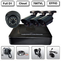 4 CH D1 CCTV H 264 Security DVR Outdoor 1Dome 3Bullet IR 700TVL Cameras System