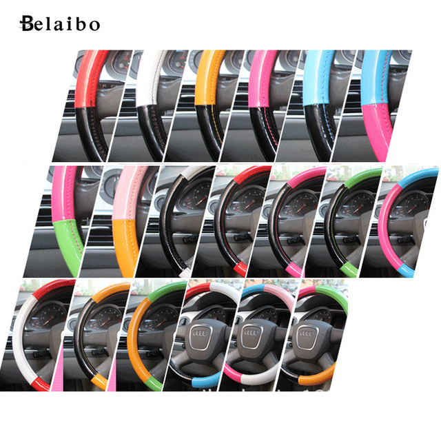 The new rose Unisex cute four handlebar sleeve fashion Plaid multicolor car steering wheel cover car styling