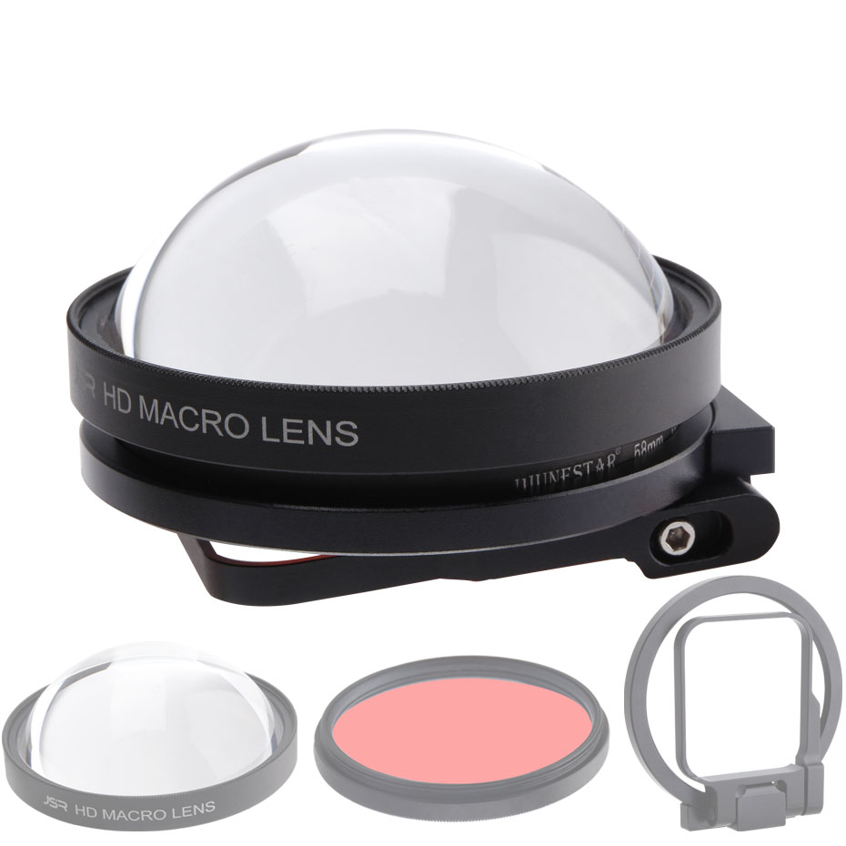 CAENBOO Action Camera Lens Filters Go Pro Hero 5 6 7 Super Macro 24X Close Up Red Diving Underwater For GoPro Hero5/6/2018 Black