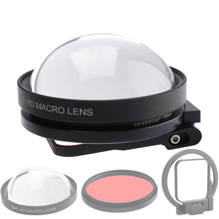 CAENBOO Action caméra objectif filtres Go Pro Hero 5 6 7 Super Macro 24X gros plan rouge plongée sous-marine pour GoPro Hero5/6/2018 noir