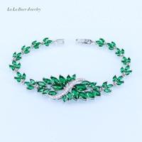 L & B 4 Opzioni di Colori Argento 925 Stamp Pietra Verde foglie e Fiori Big Cubic Zirconia Braccialetti di Fascino Gioielli Per donne