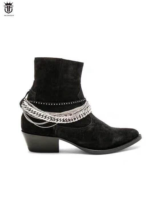 2019 Nuovi uomini di arrivo chelsea stivali di alta qualità del nastro catene stivali della caviglia di sesso maschile scarpe da festa di nozze scarpe di camoscio nero mujer botas
