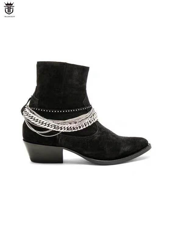 2019 nouveauté hommes chelsea bottes haute qualité argent chaînes bottes cheville mâle fête chaussures de mariage noir daim mujer botas