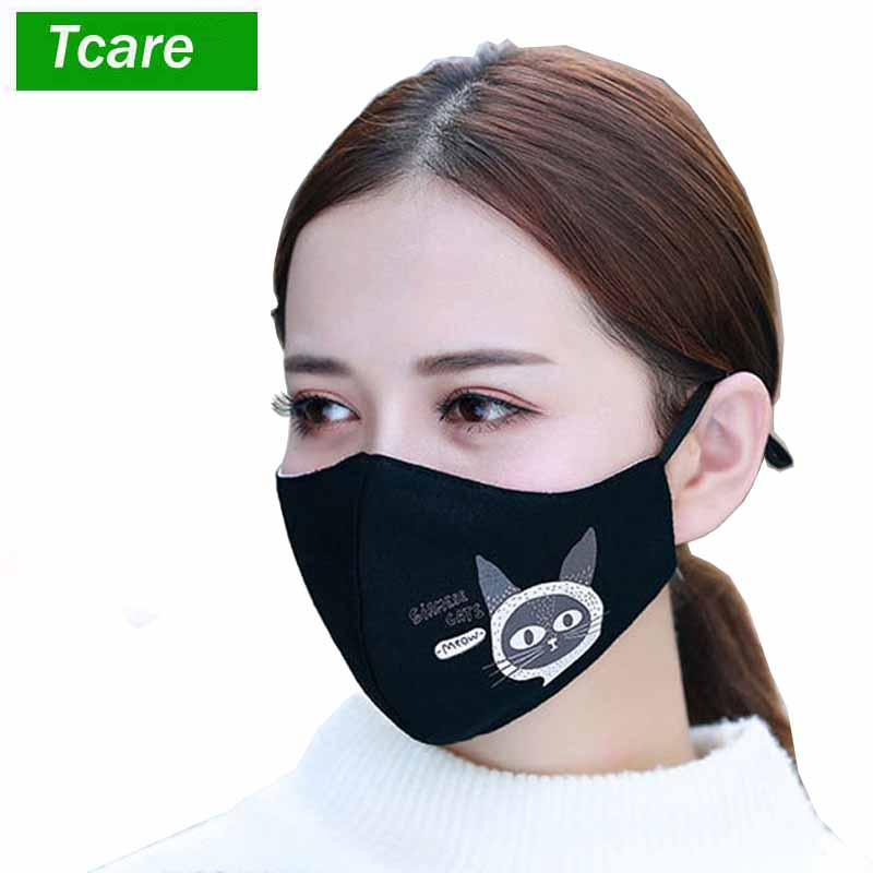 1Pcs Fashion Cat Face Mouth Mask Anti Dust Mask Filter Windproof Mouth-muffle Bacteria Proof Flu Face Masks Care Reusable