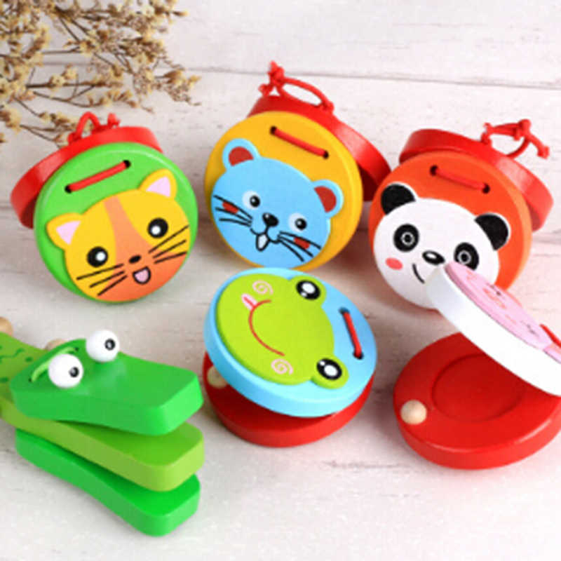 Kids Lovely Wooden Castanets Music Instruments For Baby Clapper Handle Musical Instruments Toys Educational Toys For Children