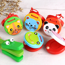 ילדי עץ קסטנייטות צעצוע מוסיקה מכשירים עבור תינוק קלאפר ידית כלי נגינה צעצועים חינוכיים צעצועים לילדים