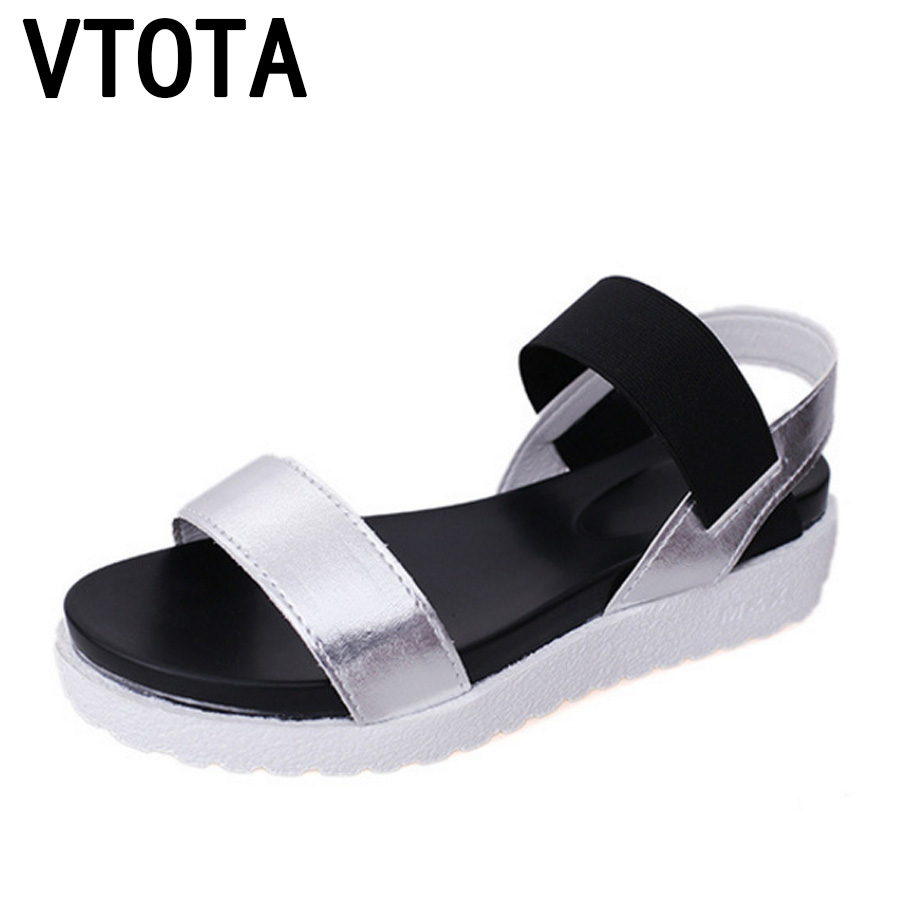 VTOTA Women Sandals Shoes Woman 2018 Peep-Toes Casual Flat Roman Sandals White Black Summer Platform Shoes Sandalias Mujer X278 women sandals platform shoes leather womens sandals flat summer 2018 casual high quality shoes size 34 40 sandalias de mujer