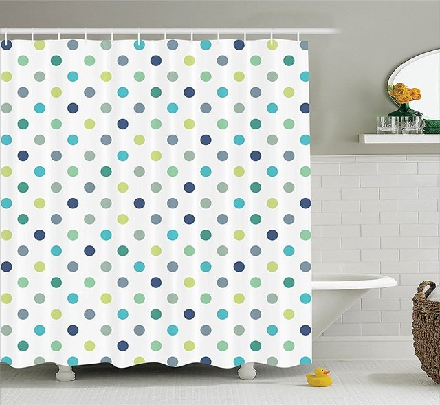 Memory Home Decration Decor Polka Dots Extra Long Shower Curtain ...