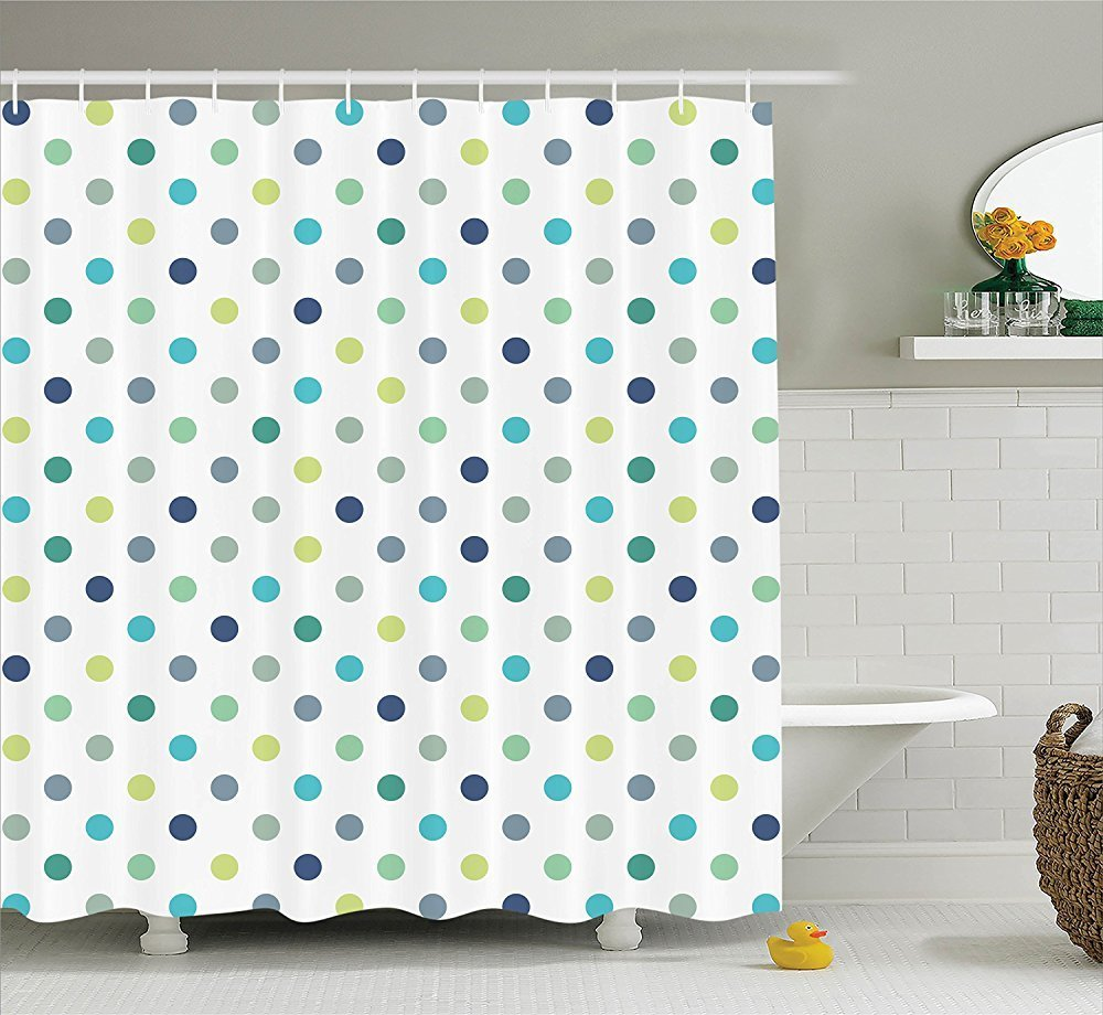 memory home decration decor polka dots extra long shower curtain polka dots timeless fashion classy vintage fabric design