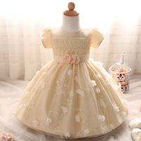 3 6 12 18 Month Girl Clothes Lolita Beige Flower Sweet Heart Baby First Birthday Outfit Princess Style Infant Wedding Dresses