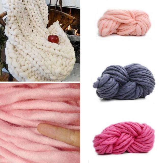 250g Thick Super Chunky Yarn Soft Merino Wool Yarn Roving Spinning