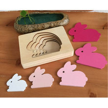 Free shipping Wooden 5 layer cartoon animal Rabbit Bird Whale puzzle toys,Child Educational wood Animal Puzzle Game toys