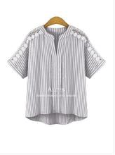Lace Vertical Striped V Neck T-shirt Thin Women Short Sleeve Bat Sleeve T Shirt 2017 Summer Plus Size T Shirt