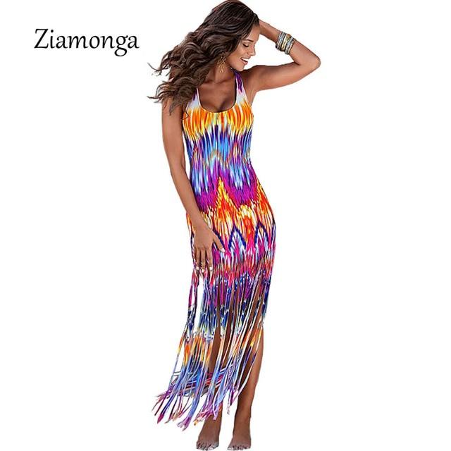 8581602c08 Ziamonga Hot Selling Summer Casual Beach Dresses Sleeveless Tank Top Tassel  Long Women Maxi Dress Vestidos Bohemian Summer Dress