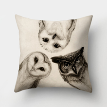 Cute Owl Animal Pillow Case Square Shape Seat