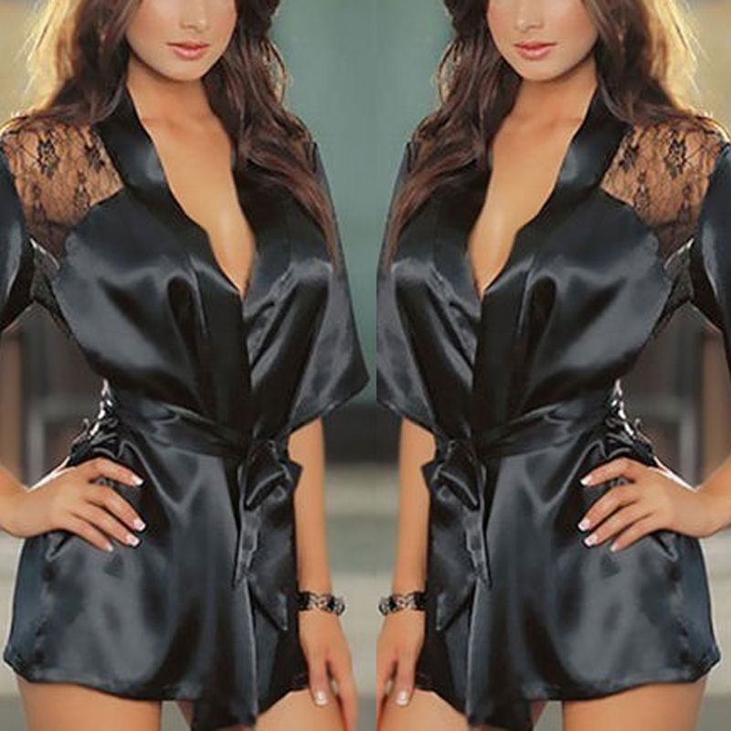 1PCS Hot Sexy Lingerie Plus Size Satin Lace Black Kimono Intimate Sleepwear  Robe Sexy Night Gown Women Sexy Erotic Underwear-in Nightgowns    Sleepshirts ... aec006b8c