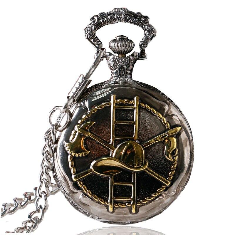 Fashion Golden/Bronze Firefighting Design Pocket Watch for Firefighter Watches P994C golden bronze sparkle