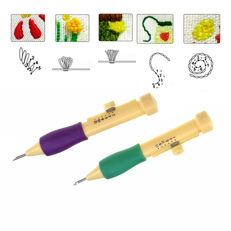 Punch Needle Set 3 Needles 2 Threaders Craft Tool for Embroidery DIY Sewing TOOL