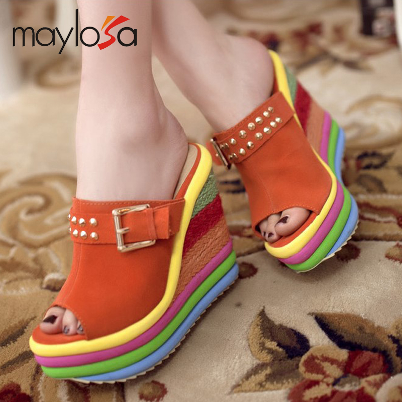 2015 new wedges shoes platform summer heavy bottomed small rivets leather fish lips Ladies slippers wholesale