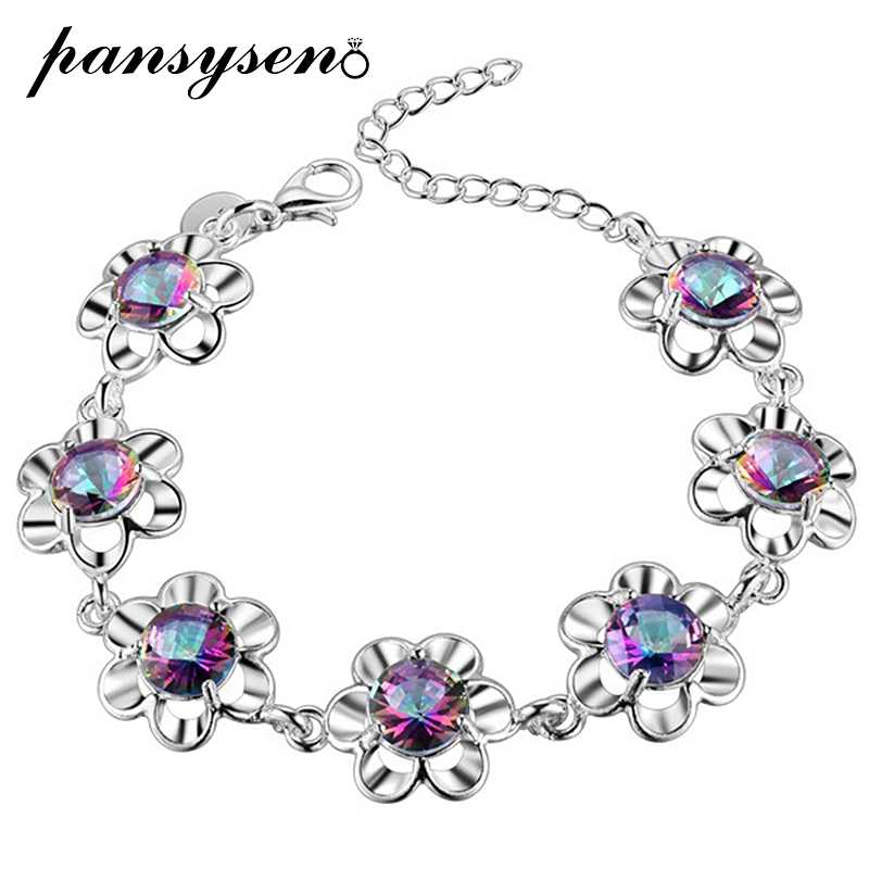 PANSYSEN luxury brand 925 Silver Bracelets For Women Girls mystic Rainbow Topaz Bracelet Fashion Wedding Engagement Fine Jewelry