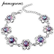 PANSYSEN luxury brand 925 Silver Bracelets For Women Girls mystic Rainbow Topaz Bracelet Fashion Wedding Engagement Fine Jewelry