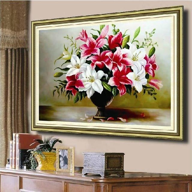 Рукоделие, DMC DIY Вышивание, Вышивка комплект, цветок лилии Вышивка крестиком украшения Настенная живопись Декор оптовая подарок