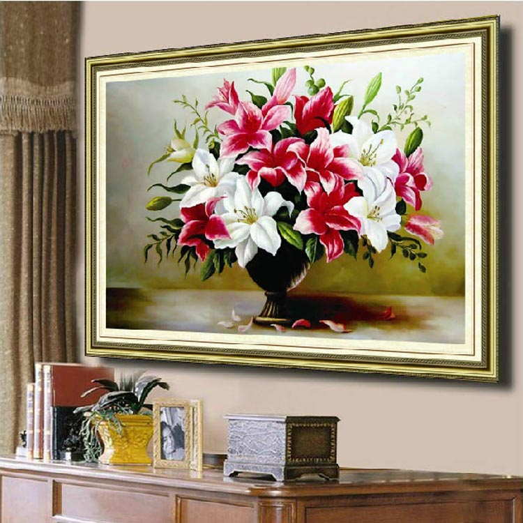 Needlework,DMC DIY Cross stitch,Embroidery kit set, Lily Flower Cross-Stitch decoration painting wall decor Wholesale Gift