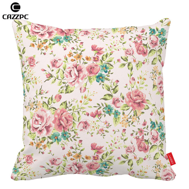 Pink Vintage Flower Rose Shivering Print Car Decorative Throw Pillowcase  Pillow Cases Cushion Covers Sofa Chair