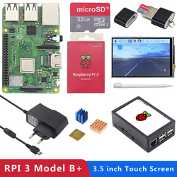 3 Original Raspberry Pi Modelo B + (Plus) board + 3 5 polegada Touchscreen  + Power Adapter 1 4 GHz quad-core 64 bit Processador WiFi & Bluetooth