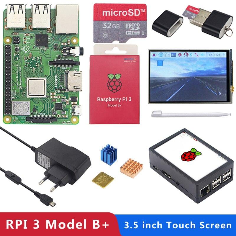 Carte d'origine Raspberry Pi 3 modèle B + (Plus) + écran tactile 3.5 pouces + adaptateur secteur 1.4 GHz processeur quad-core 64 bits WiFi & Bluetooth