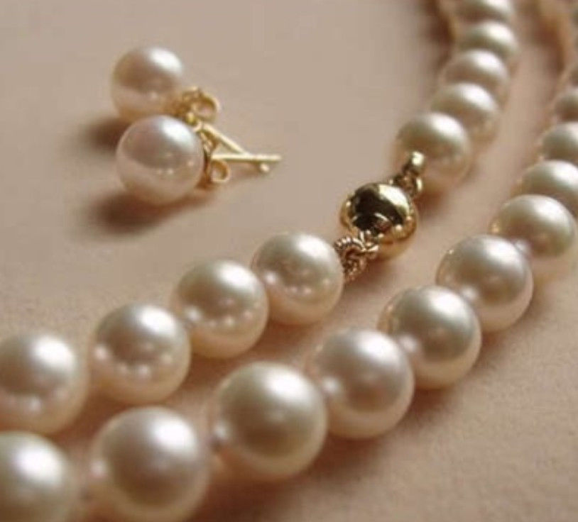 New (Minimum Order1) 8MM White Shell Pearl Necklace Earrings Beads Jewelry Gift Making Design Jewelry Set Natural Stone 18inch