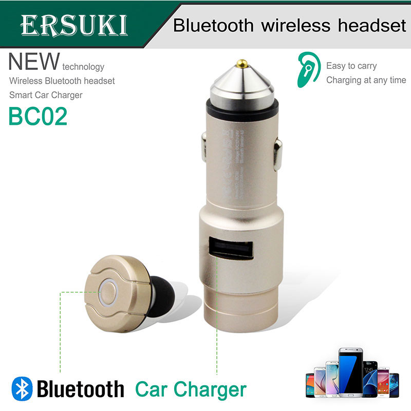 Ersuki Wireless Bluetooth Earphone Headphone BC02 Car Charger 2 in 1 Bluetooth Headset and 2.4A Fast Car Phone Charger mini car charger usb interface wireless bluetooth earphone headset 2 in 1 fast car phone charger cx88
