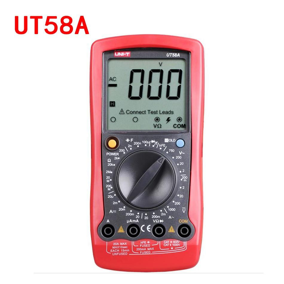 UNI-T UT58A/UT58B/UT58C/UT58D/UT58E LCD Digital Multimeter AC DC Voltmeter Amp Ohm Capac ...