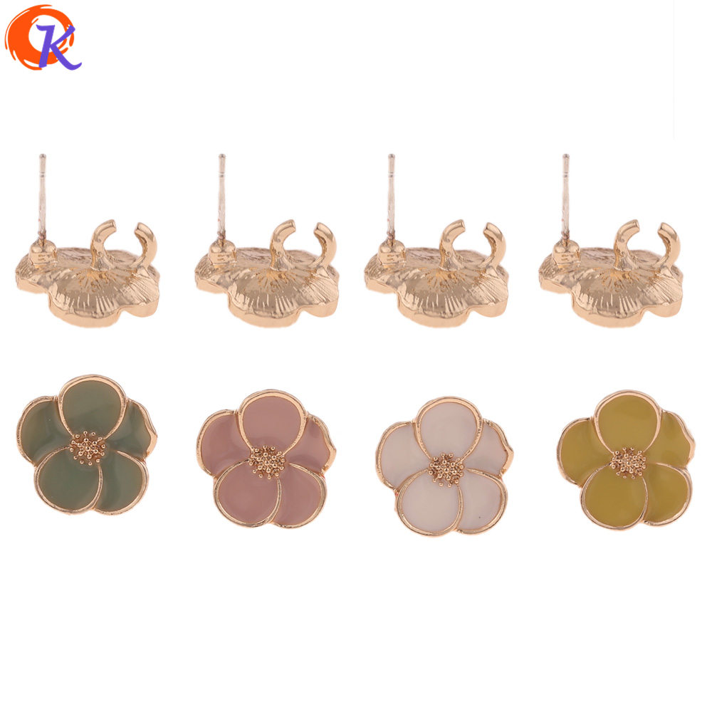 Cordial Design 50Pcs 14*14MM Jewelry Accessories/Earrings Stud/Flower Shape/DIY Jewelry Making/Hand Made/Earring Findings