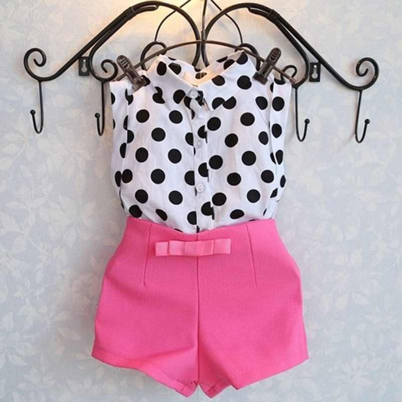 2pcs Baby Girls Clothes Hot Sale arrival Cute Polka Dot Single Breasted T shirt Solid Pink Short Pants Clothes Sets For 1 6 Y in Clothing Sets from Mother Kids