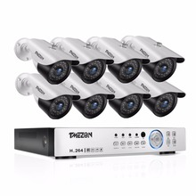 Tmezon HD AHD 1080P DVR NVR HVR Home Security Surveillance CCTV System 8pcs Bullet 1080P 2.0MP Camera Outdoor Weatherproof Kit