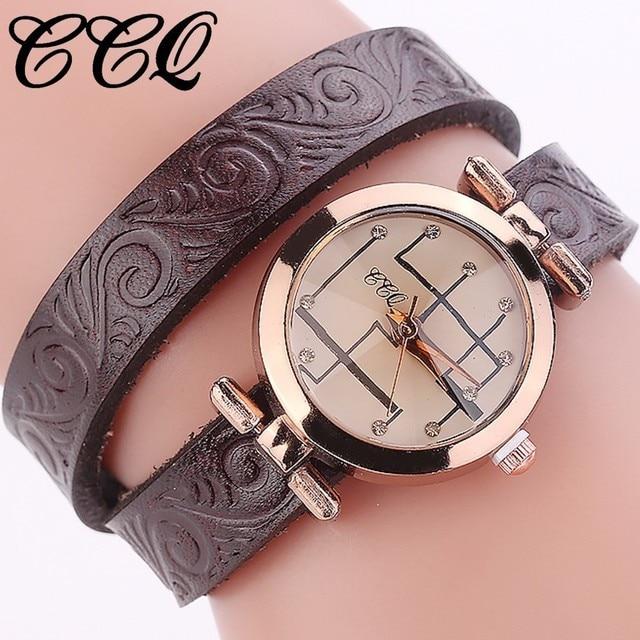 CCQ Brand Women Bracelet Watch Ladies Fashion Casual Genuine Cow Leather Quartz